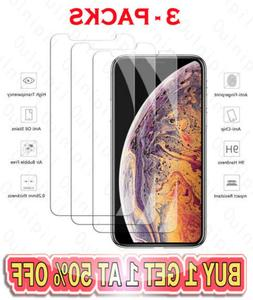 3-Pack For iPhone 5 5S 6 6s 7 8 Plus X Xs Max XR Tempered GL