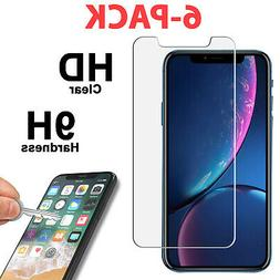6 PK Tempered Glass Screen Protector for iPhone 11 PRO XR X