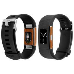 Skinomi Light Wood Skin+Clear Screen Protector for Fitbit Ch