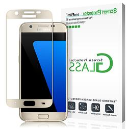 amFilm Bye-Bye-Bubble for Galaxy S7 Gold Tempered Glass Scre