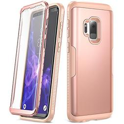 YOUMAKER Galaxy S9 Case, Rose Gold with Built-in Screen Prot