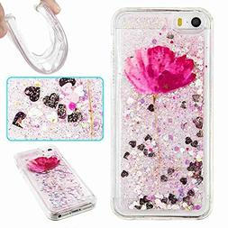 iPhone SE/5S/5 Case, UZER Cute Bling Quicksand Moving Flowin