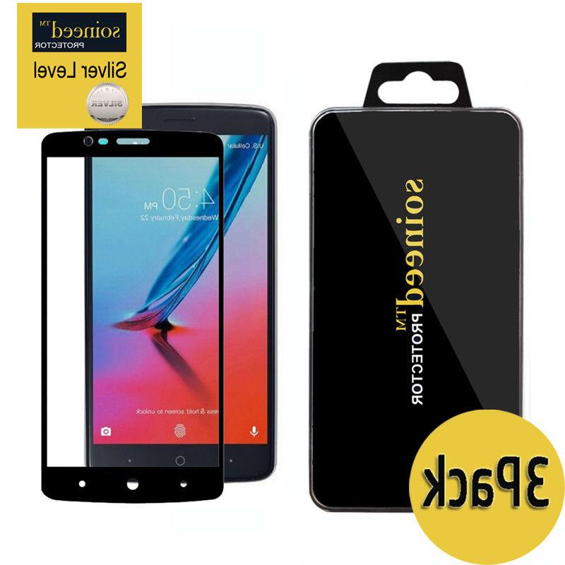 SOINEED FULL COVER Tempered Glass Protector ZTE MAX XL /Bla