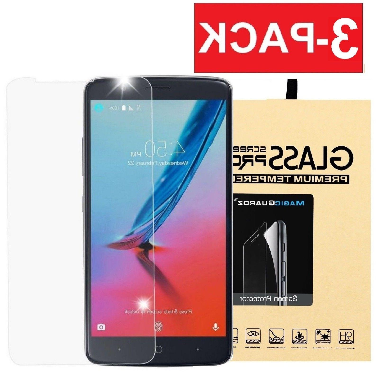 3-Pack Tempered Glass Screen Protector For ZTE MAX XL N9560