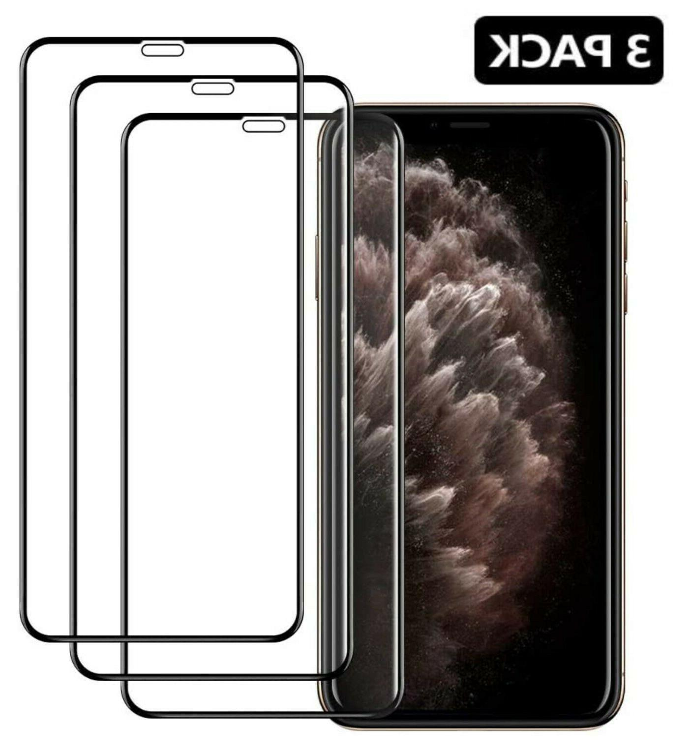 3 pack full coverage tempered glass screen