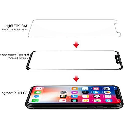DeFitch Full Compatible Xs/iPhone X Edge to Tempered Screen Protector, HD, Clear, Xs/iPhone X/iPhone