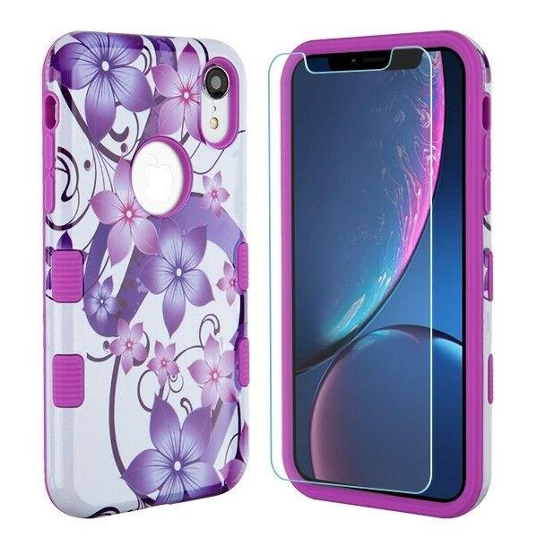 For XS Max XR Tuff Shockproof Cover +Tempered