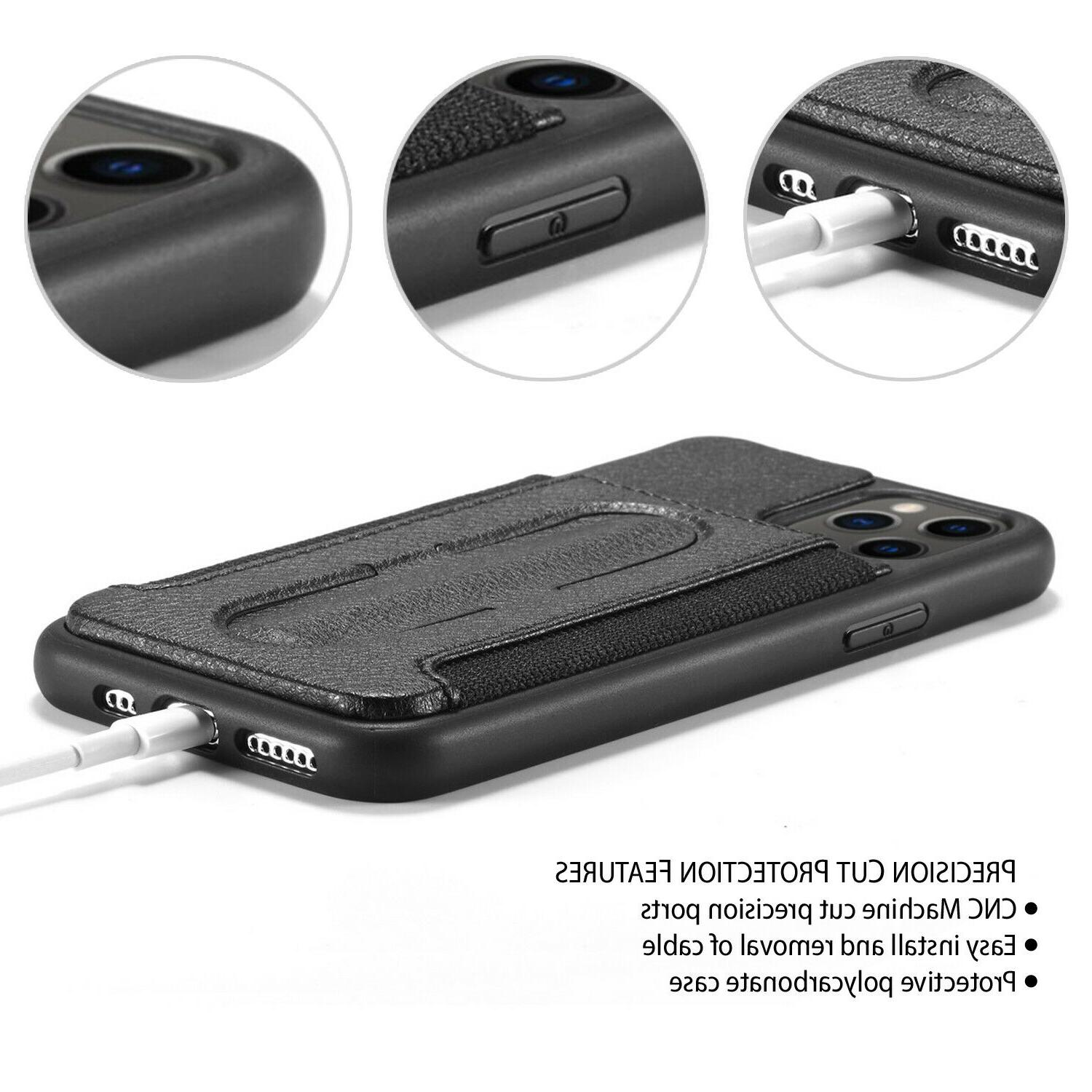 Leather Back Card Case Cover for 11 Pro Max Screen