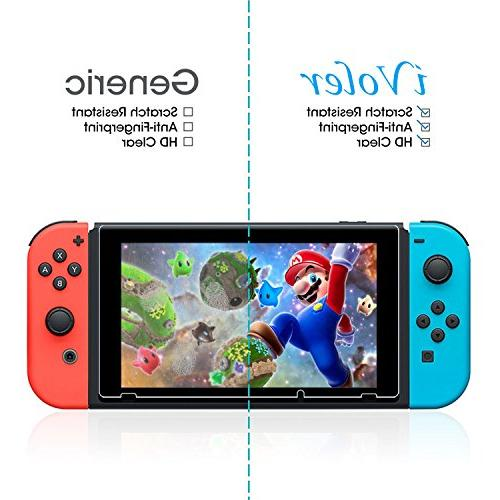 Nintendo Switch Screen Protector Tempered Glass, iVoler Transparent Clear Anti-Scratch Screen Switch, Time Warranty