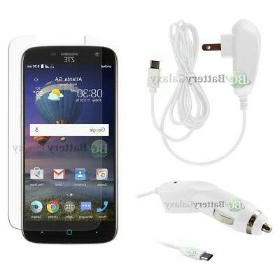 Type C Wall Charger+Car+LCD HD Screen Protector for Phone ZT