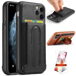 Leather Back Card Slot Case Cover for iPhone 11 Pro Max Glas
