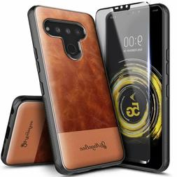 For LG Stylo 6 Case Shockproof Leather Cover + Tempered Glas