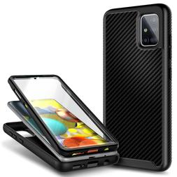 For Samsung Galaxy A71 5G Carbon Fiber Case Cover + Built-In