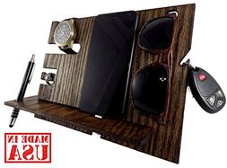 Wooden Docking Station and Personal Accessories Organizer